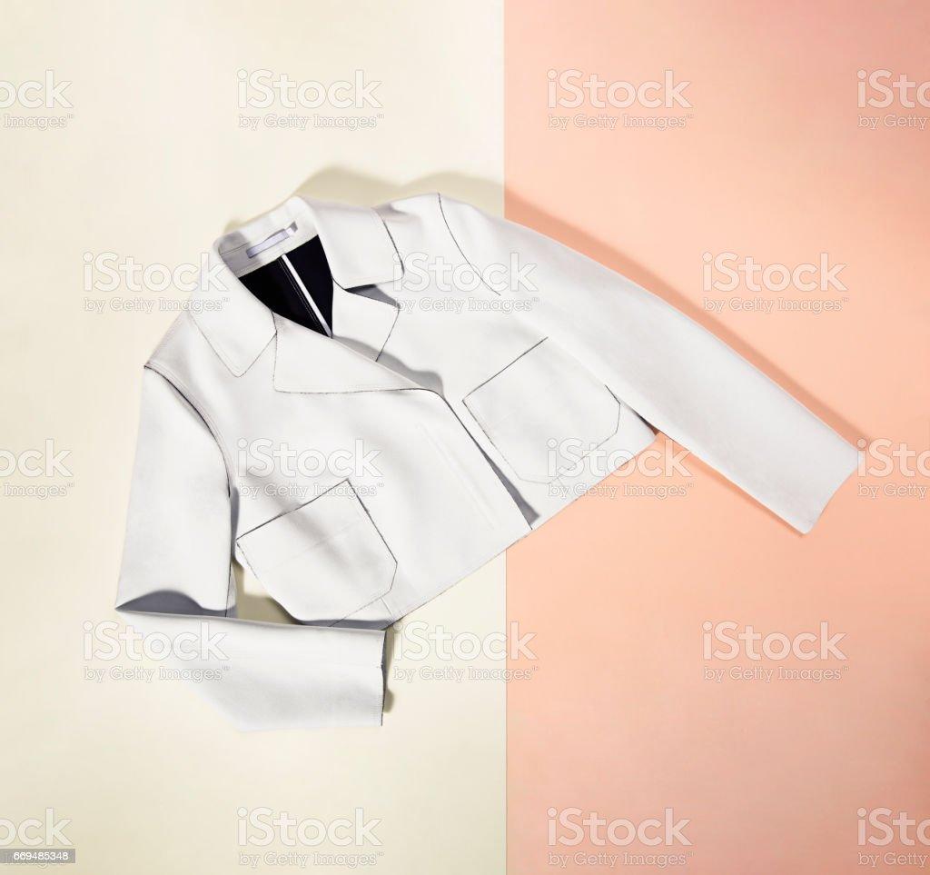 White blazer isolated background stock photo