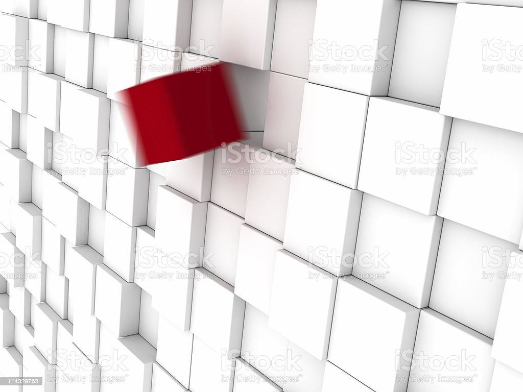 White Blocks Background One Red in Motion royalty-free stock photo
