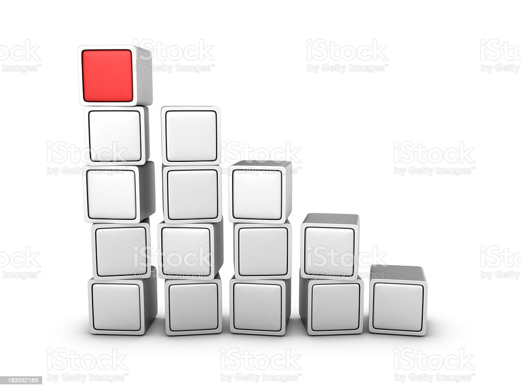 White Blocks One Red On Top royalty-free stock photo