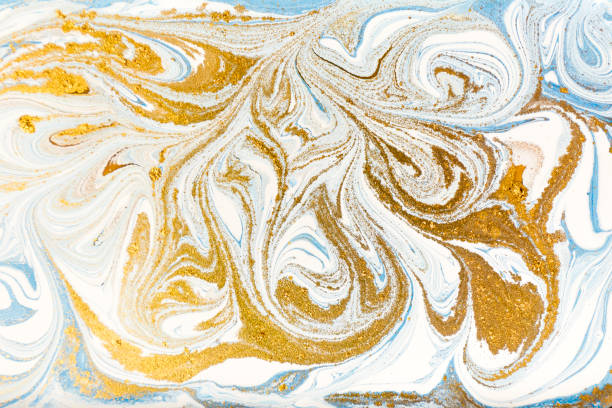 White, blue and gold marbling pattern. Golden marble liquid texture. – zdjęcie