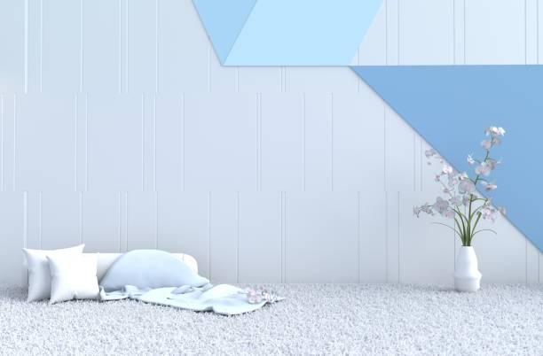 weiß blaue zimmer dekor mit decke, weiße holz wand, kissen, grau weißen zement-boden, teppich, polster, weiße orchidee in glasvase. weihnachten tag und neues jahr. 3d render. - teppich hellblau stock-fotos und bilder