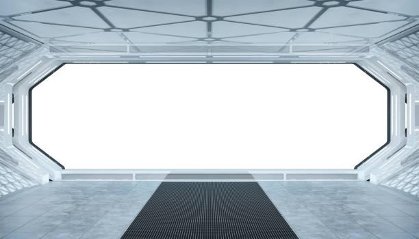 weiß blaue raumschiff futuristische innen-mockup mit fensteransicht isoliert 3d-rendering - eingangshalle wohngebäude innenansicht stock-fotos und bilder