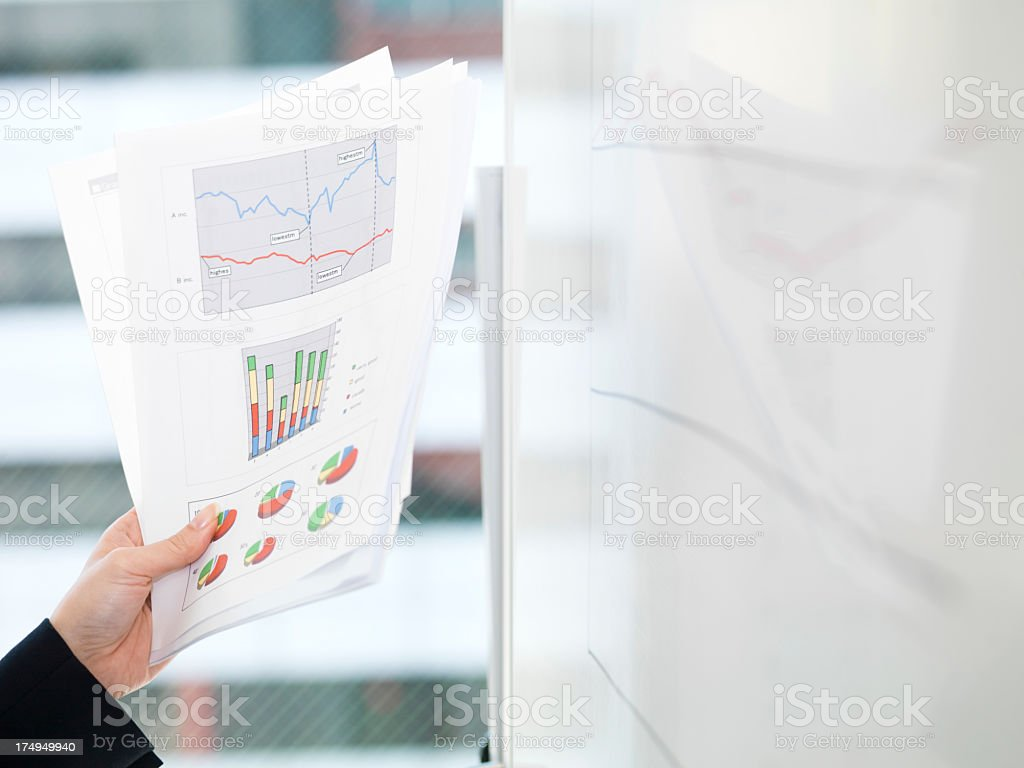 White board and business woman in the office. royalty-free stock photo