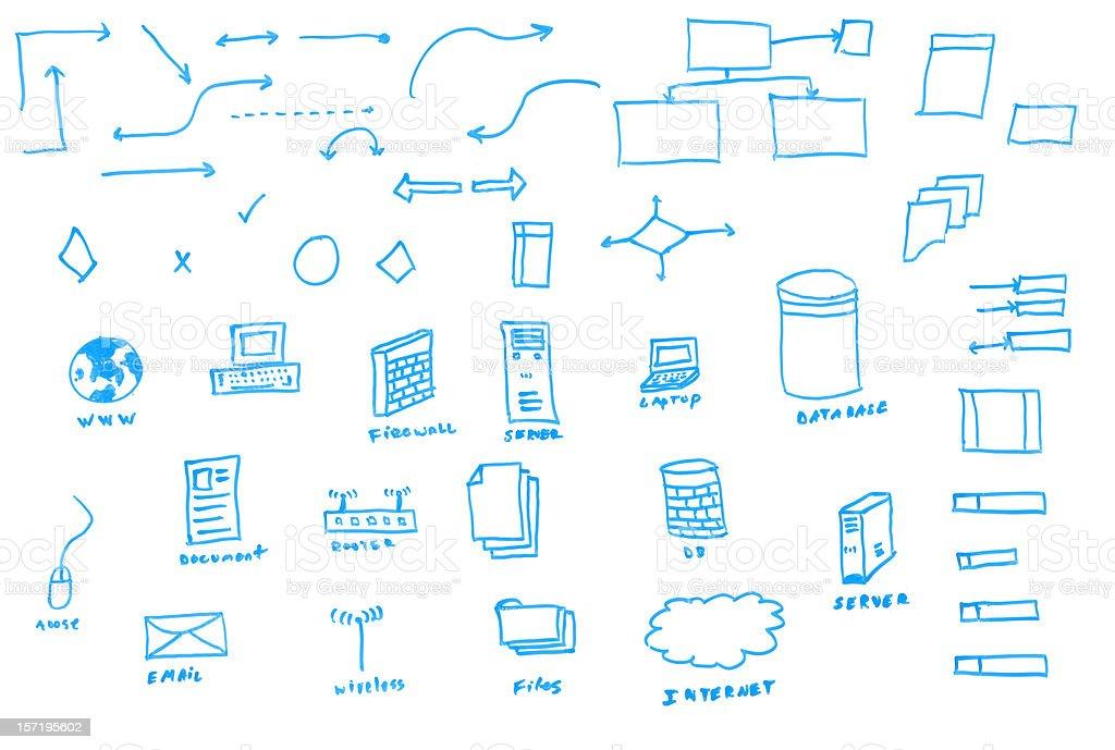 White Board Drawn Data Flowchart Icons stock photo
