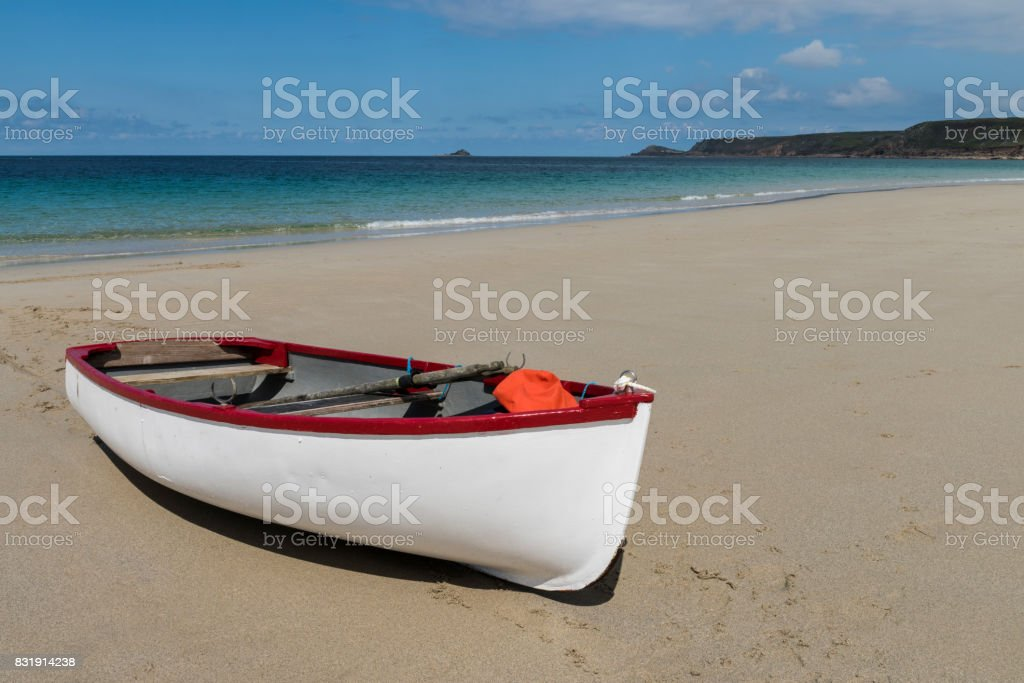 White Boat on Beach Sennen stock photo