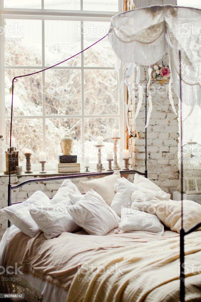 White Bohemian Bedroom Stock Photo - Download Image Now - iStock
