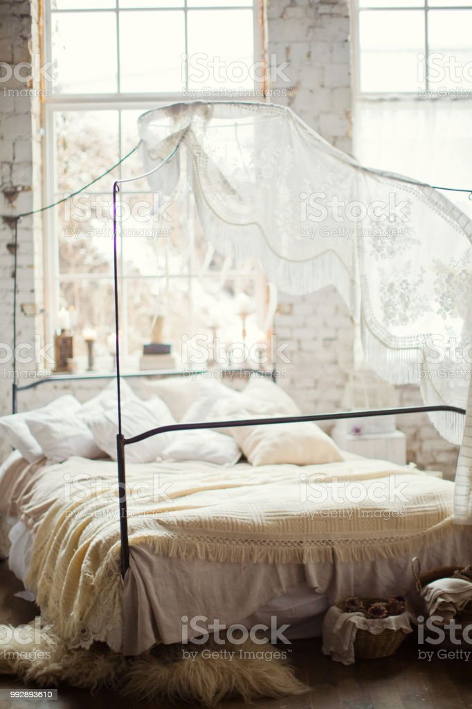 White Bohemian Bedroom Stock Photo - Download Image Now - iStock