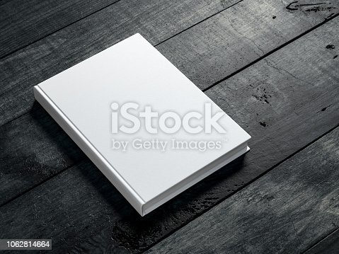 White book Mockup on dark wooden table background, 3d rendering