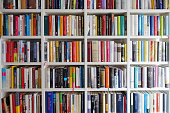 White book shelves narrowly packed with german books