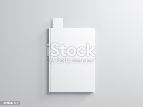 White book with Bookmark Mockup on gray background, 3d rendering