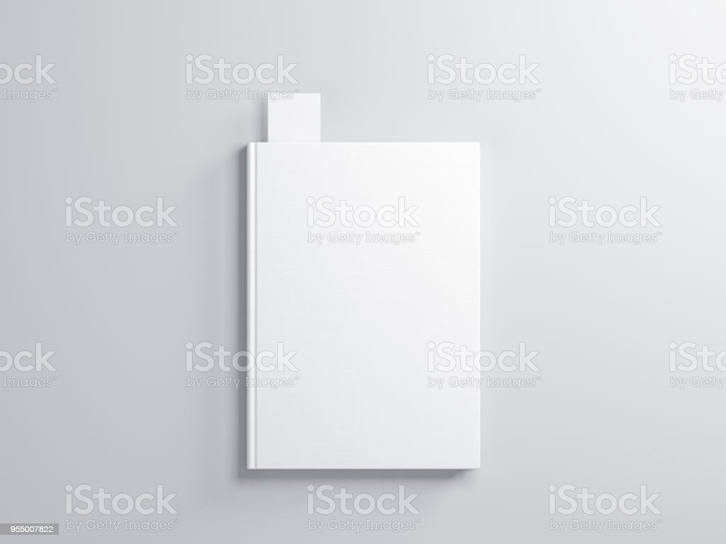 White book with Bookmark Mockup on gray background stock photo