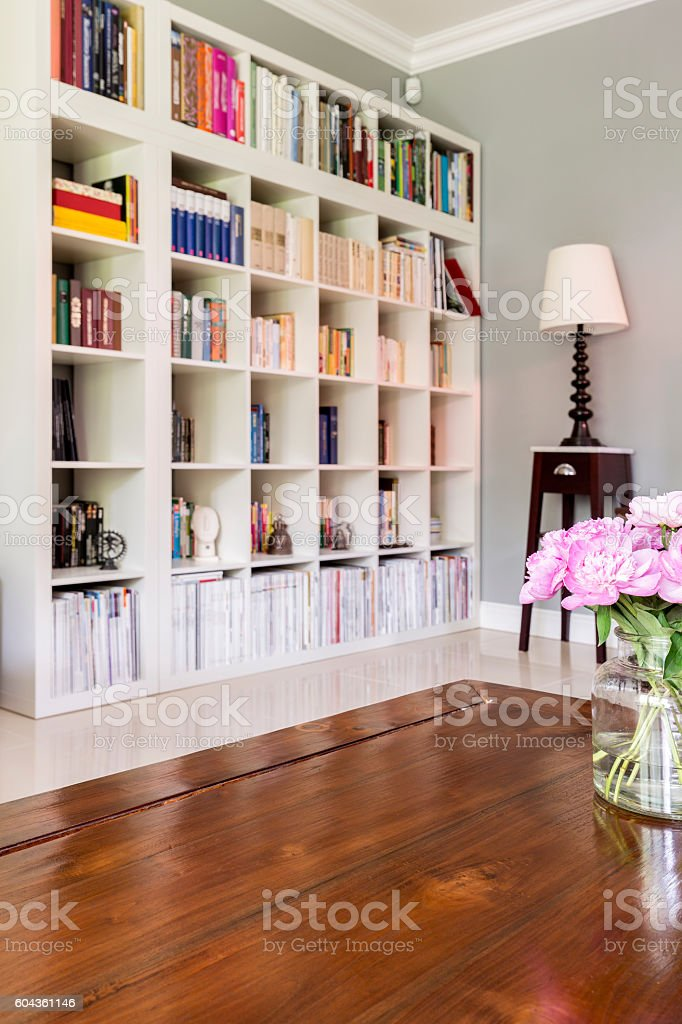 White bookcase at home library stock photo
