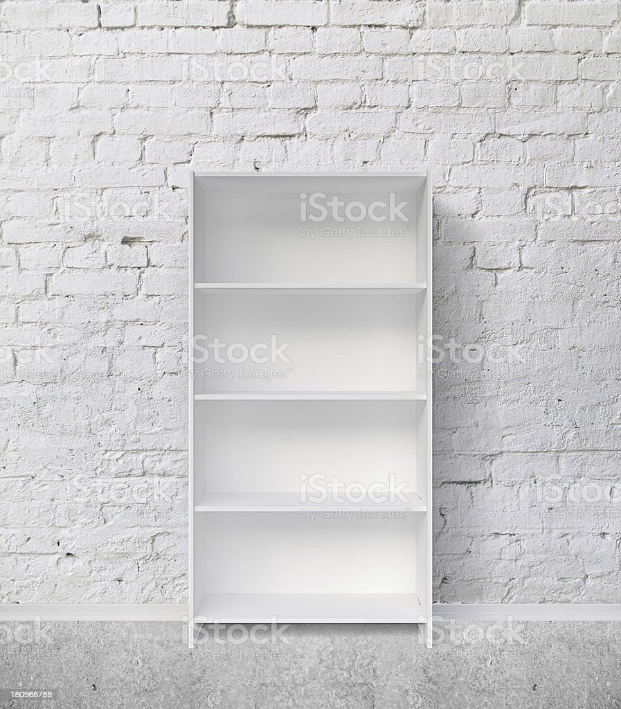 white bookshelf stock photo