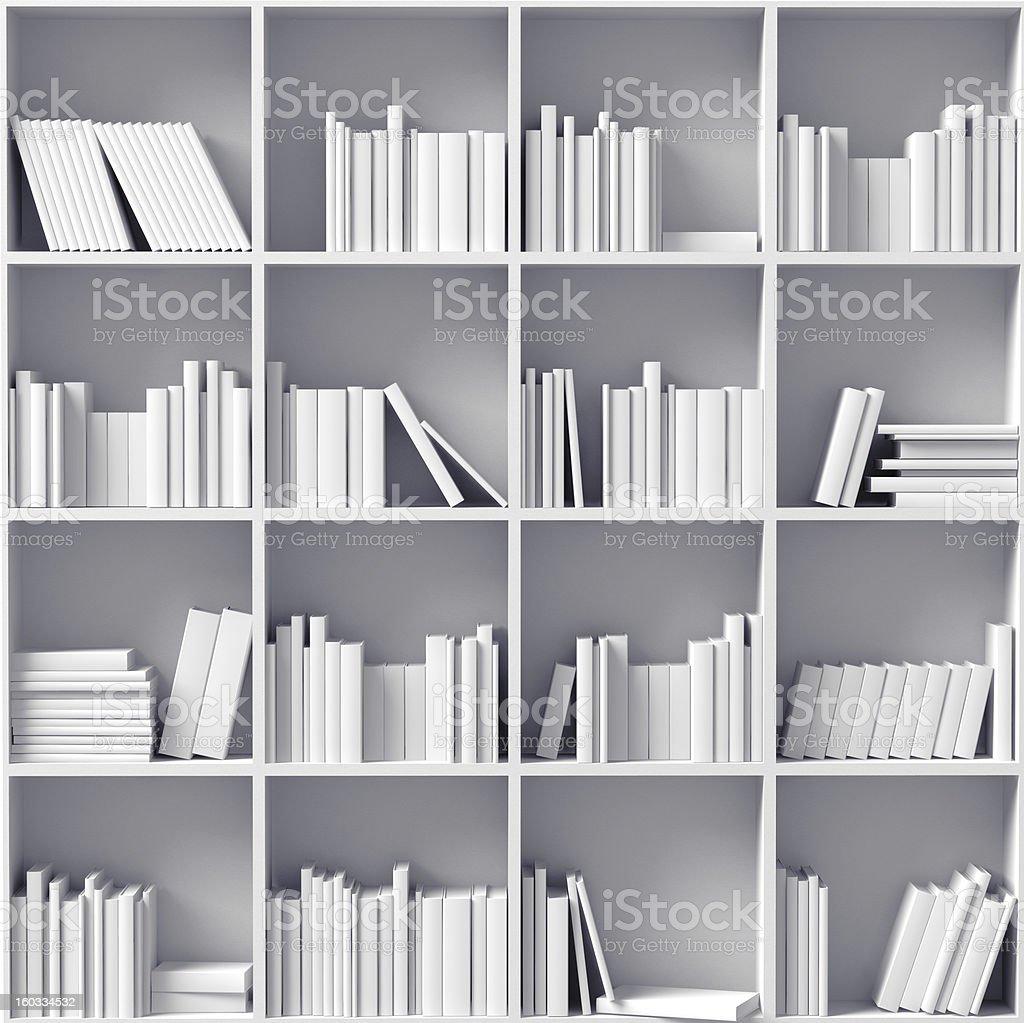 white bookshelves stock photo