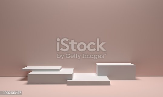 1049530612 istock photo White booth 3D rendering background wall 1200403497