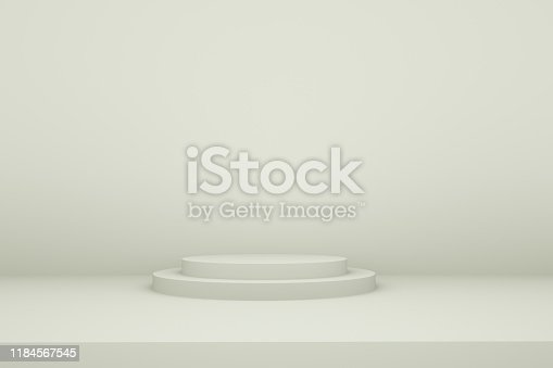 1049530612istockphoto White booth 3D rendering background wall,White display table simple rendering background wall, can be used for banner design items display background. 1184567545
