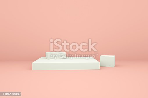 1049530612 istock photo White booth 3D rendering background wall,White display table simple rendering background wall, can be used for banner design items display background. 1184575082