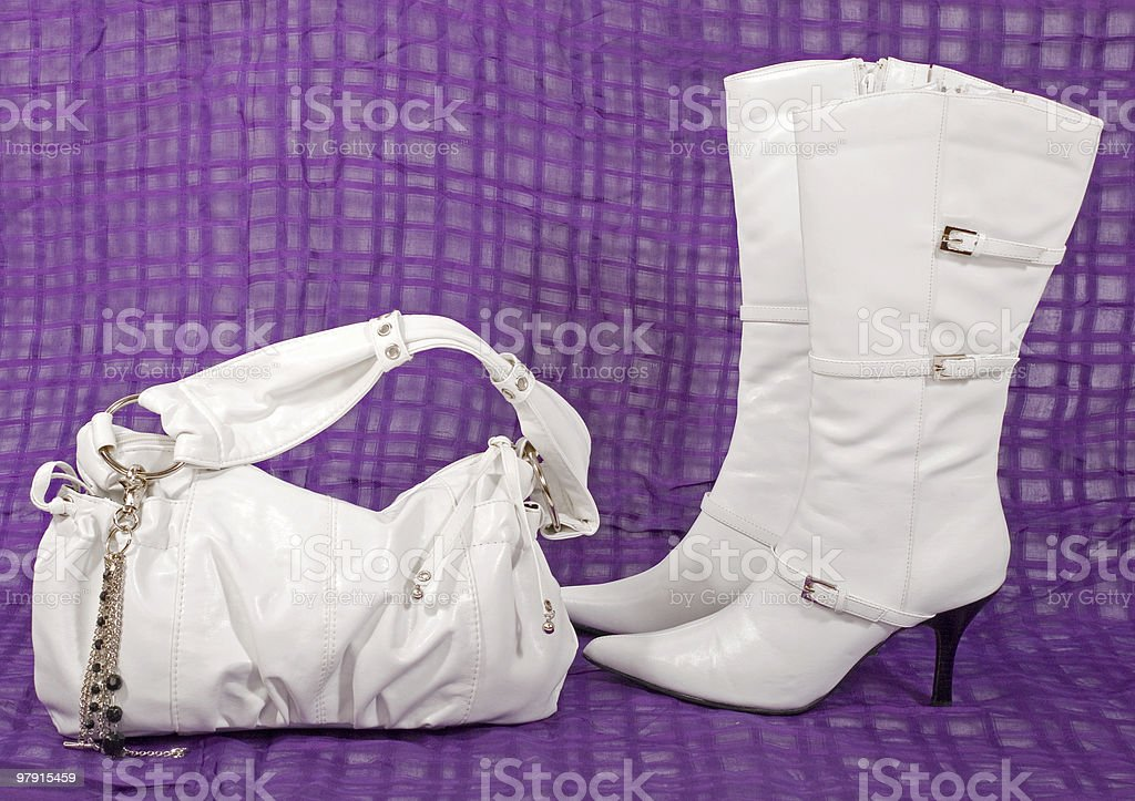 White boots and purse royalty-free stock photo