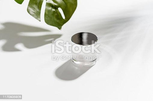 927626522 istock photo White bottle cream, mockup of beauty product brand. Top view on the white background. 1170605928