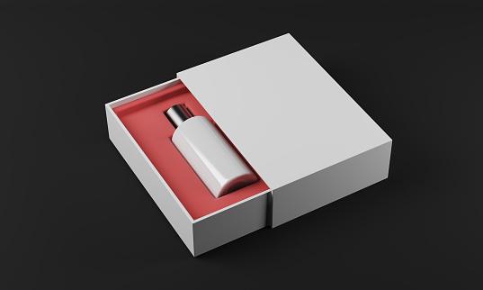 istock White bottle of perfume, black background 613861742