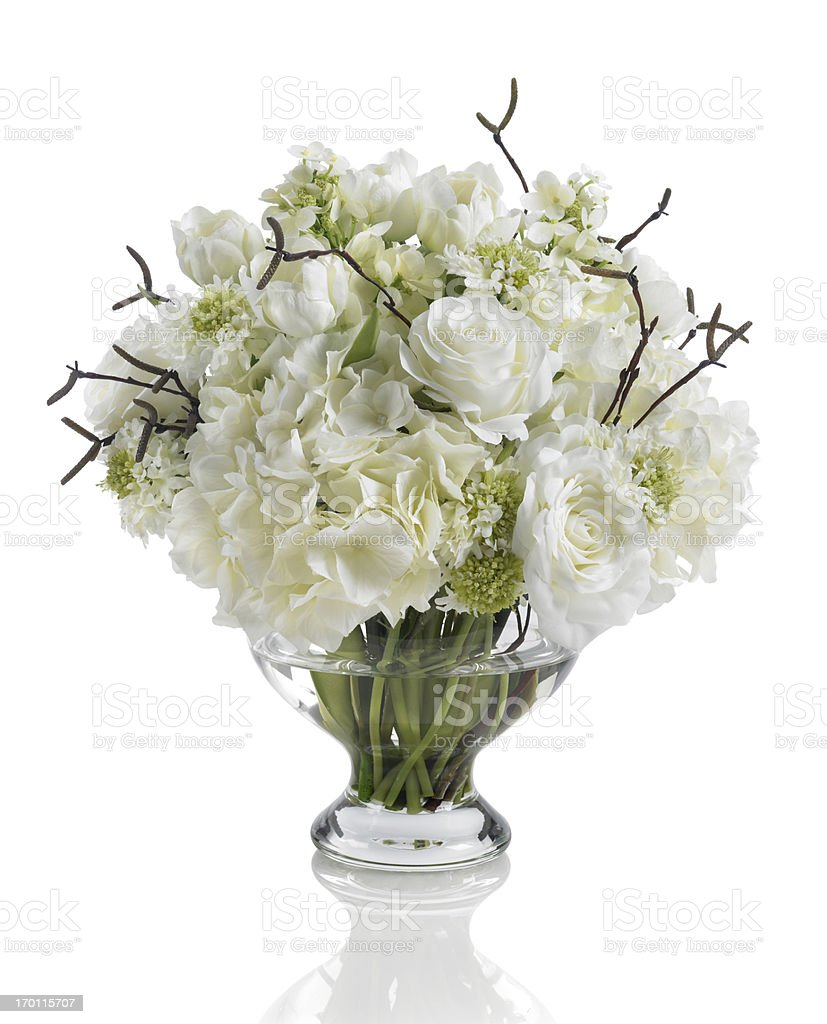 White Bouquet With Roses Hydrangeas And Dogwood On White Background