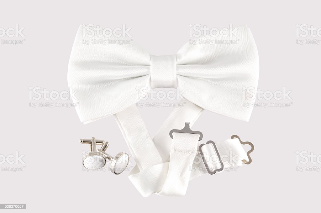 white bow tie close up stock photo