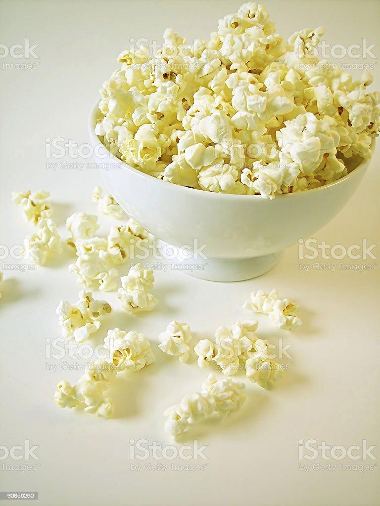 White Bowl of Popcorn royalty-free stock photo