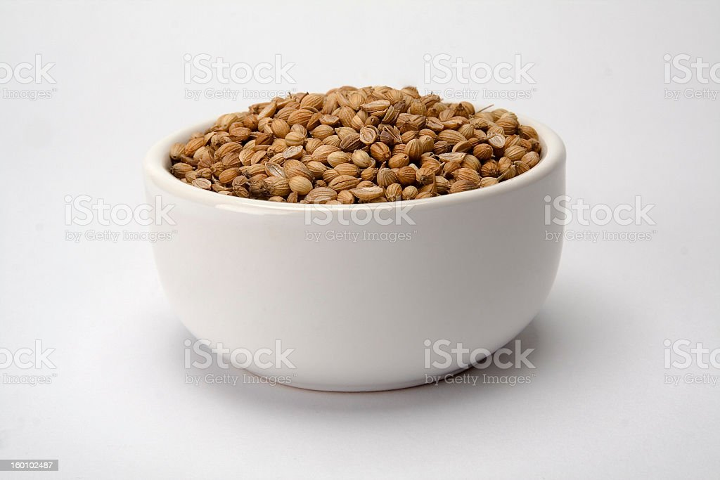 White bowl with coriander seeds royalty-free stock photo