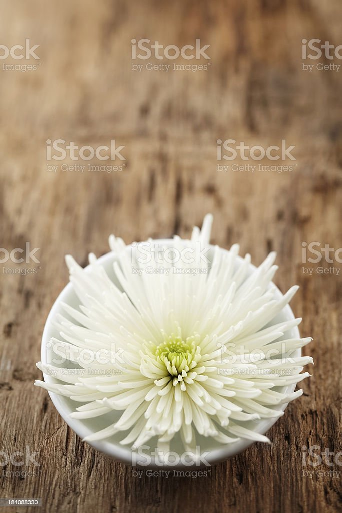 White bowl with flower and pebbles on rough wood surface royalty-free stock photo