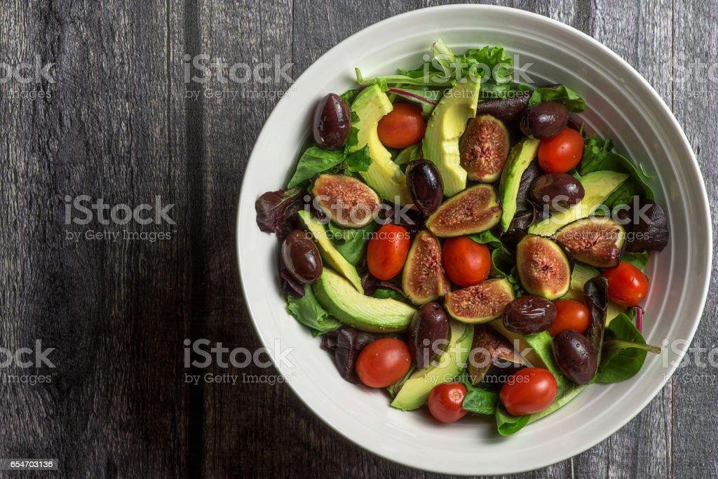 White bowl with fresh salad stock photo