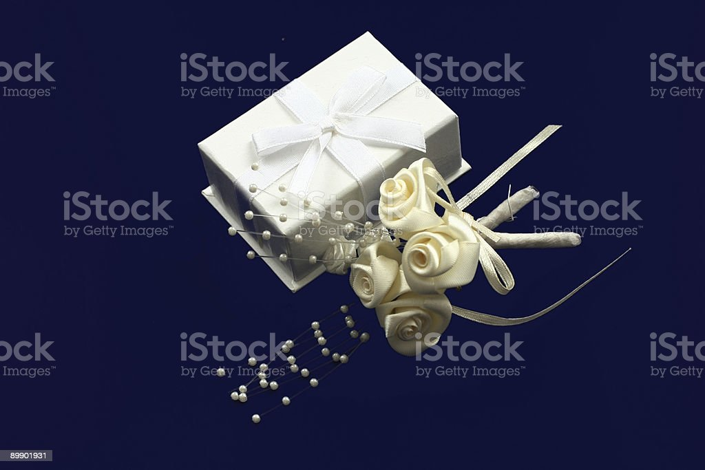 White box and satin roses royalty-free stock photo