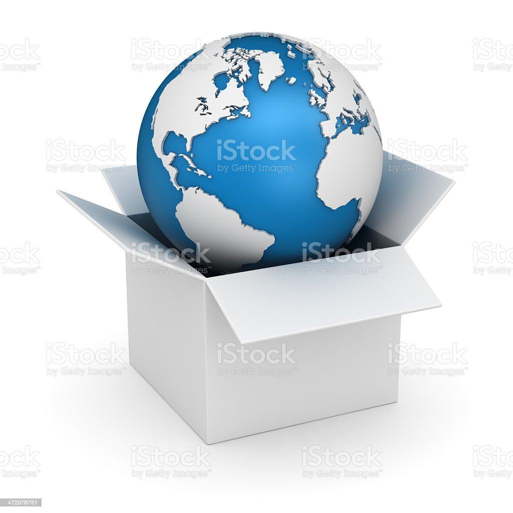 White Box and World Map stock photo
