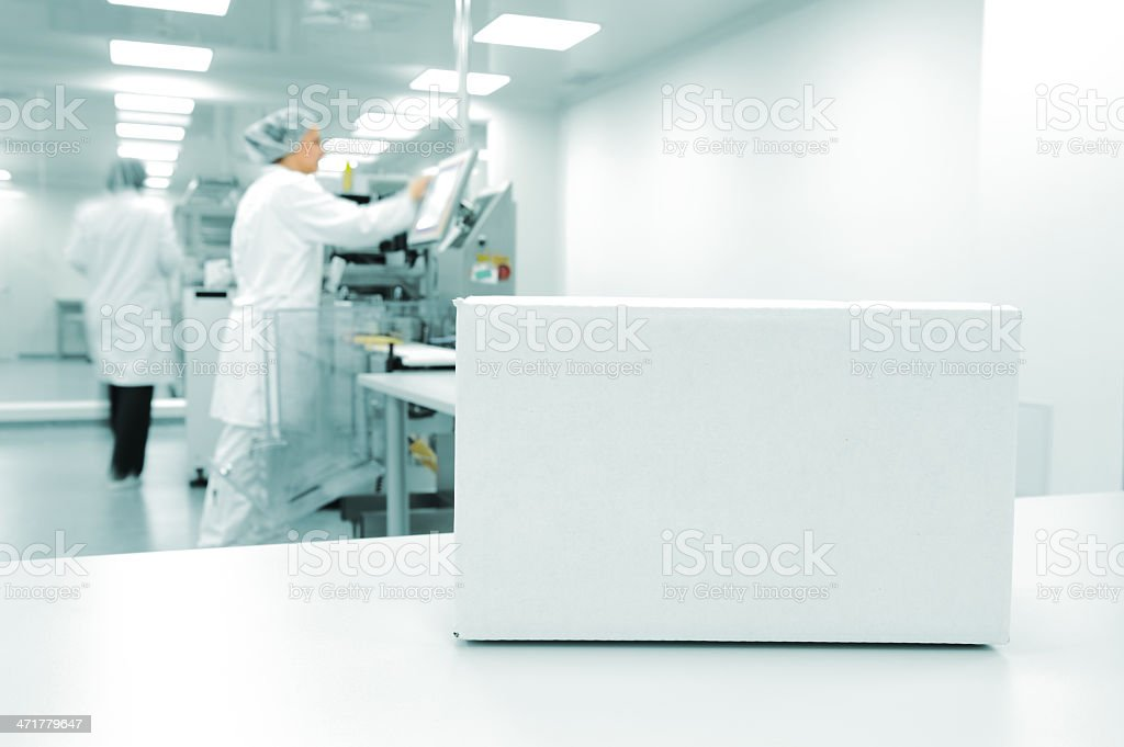 White box at an automated production line in a modern factor stock photo