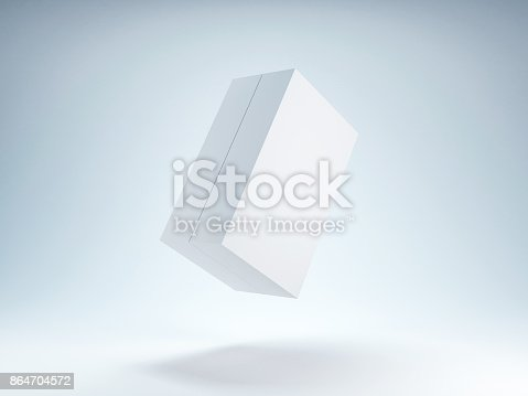 istock White Box Mockup flying in the air 864704572