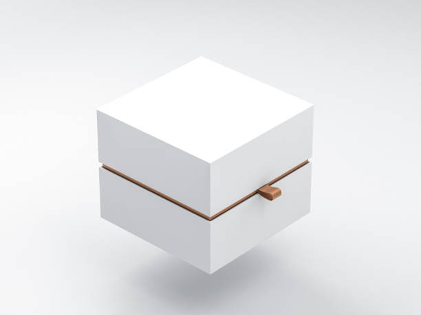 White Box packaging Mockup Half Side View stock photo