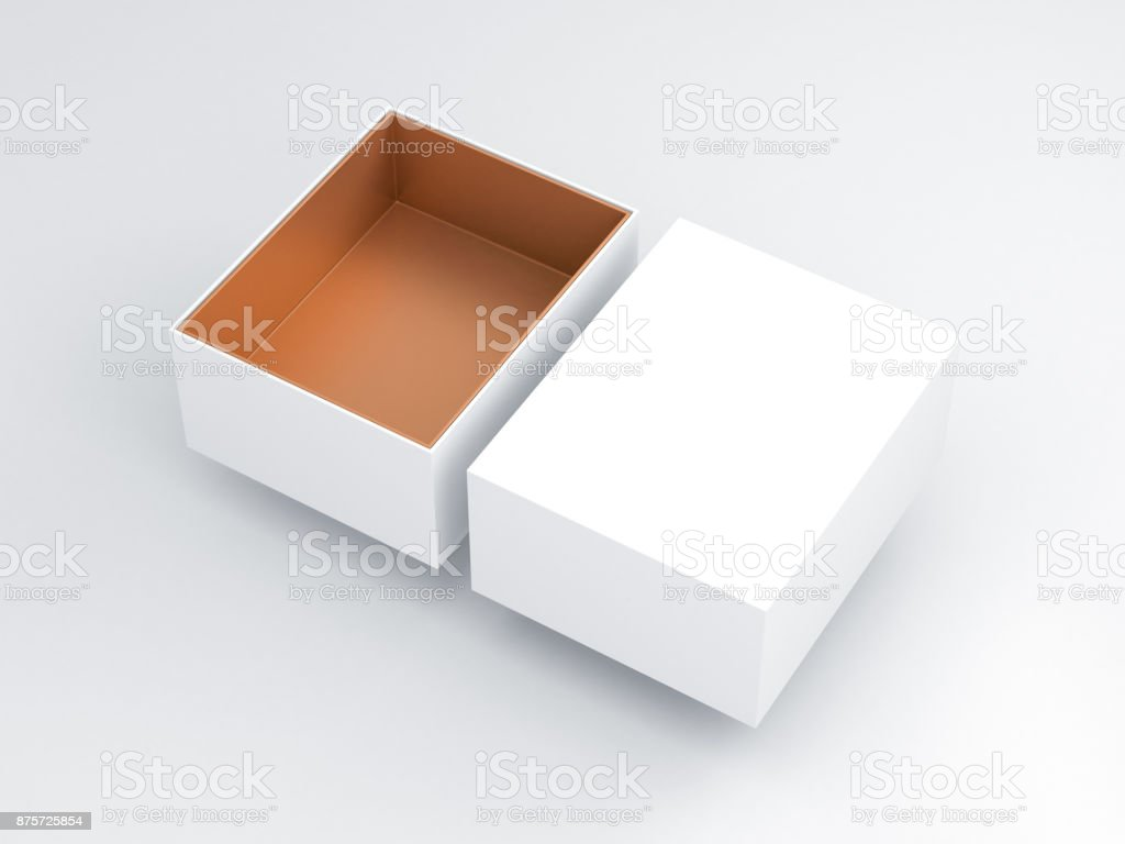 White Box with golden carboard inside Mockup, open cover stock photo