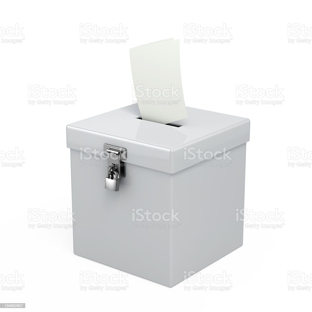 White box with lock on the front and paper going in the top stock photo