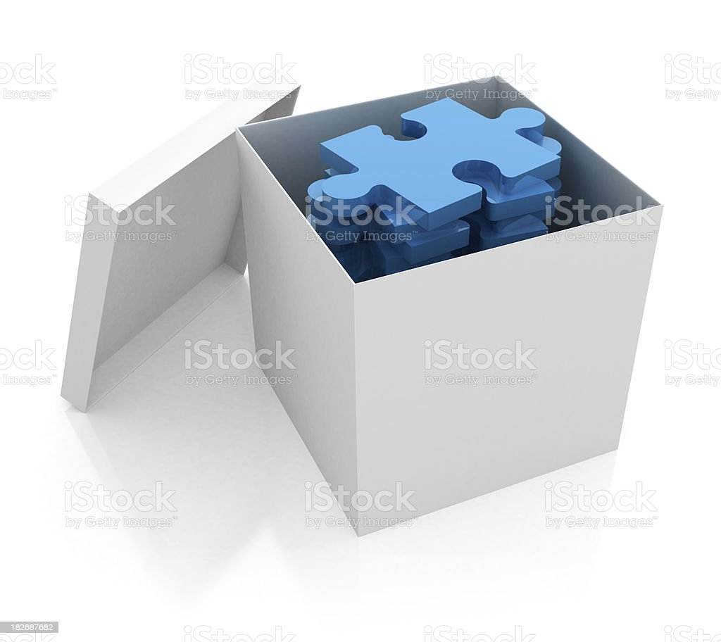 3D white box with puzzle royalty-free stock photo