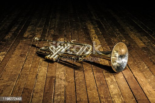 brass musical instrument on a wooden concert stage