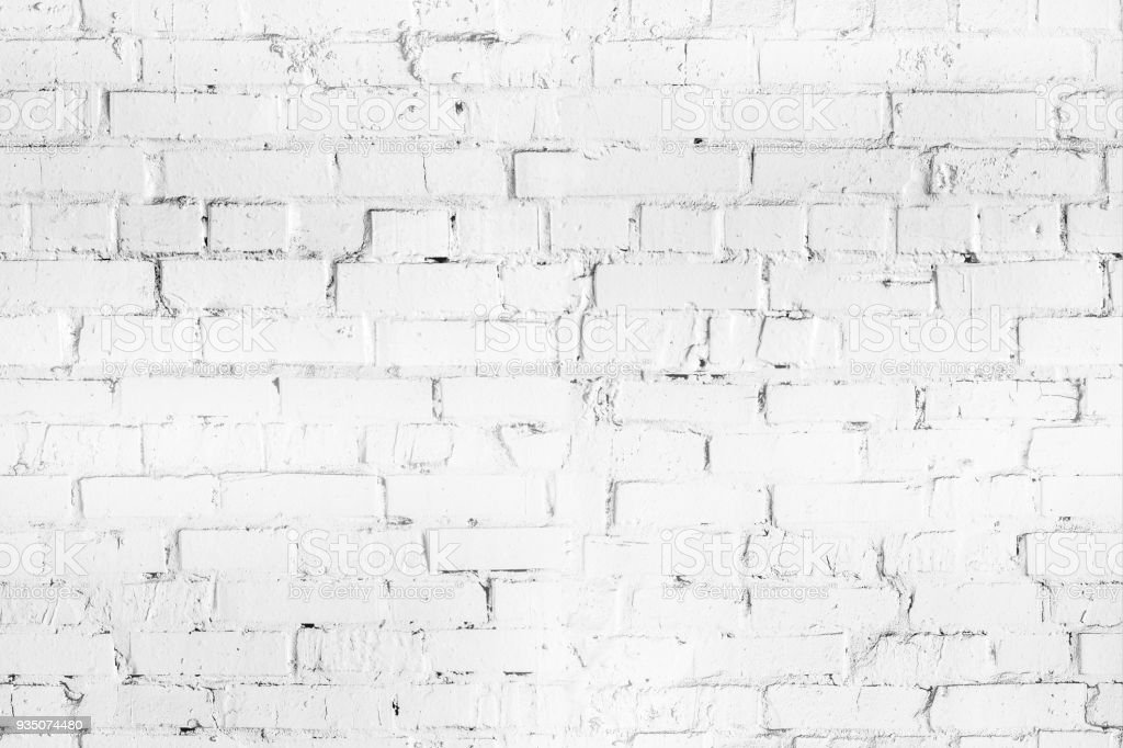 White brick seamleass wall texture. Aged  wheathered background. Abstract white textured pattern stock photo