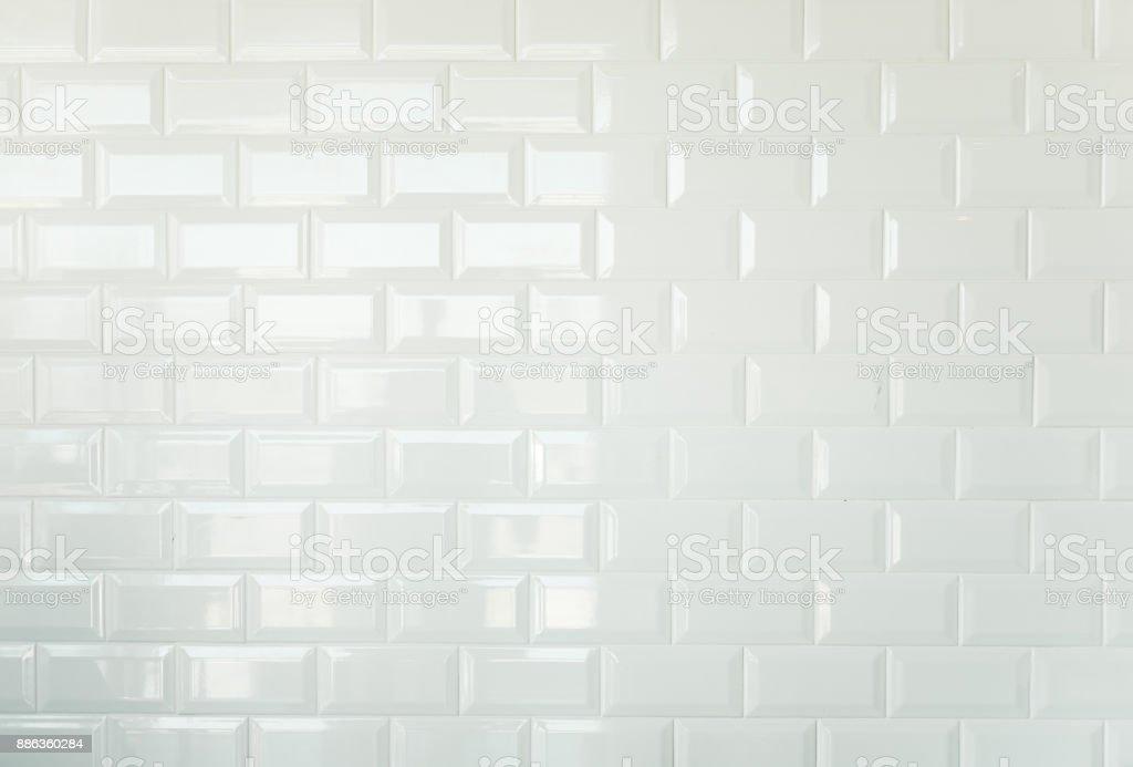White Brick Tiles Vintage Tiled Wall Background Stock Photo & More ...