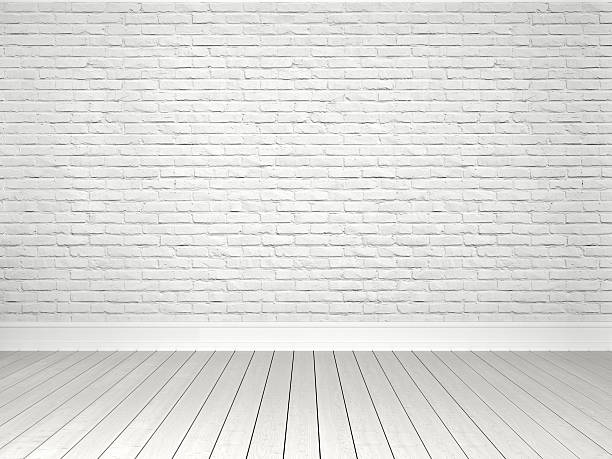 white brick wall and parquet floor - wood stone bildbanksfoton och bilder