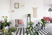 White, brick wall and pink pillow on an armchair with houndstooth pattern in open space living room interior with lots of plants. Real photo