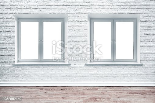 1062261710istockphoto White brick wall and plank wood floor. 1032552140
