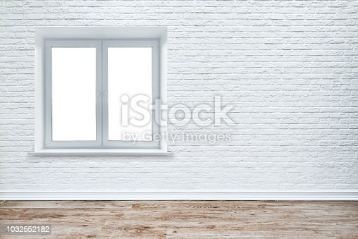 1062261710istockphoto White brick wall and plank wood floor. 1032552182