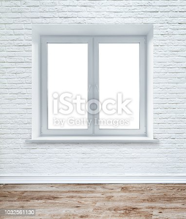 1062261710istockphoto White brick wall and plank wood floor. 1032561130