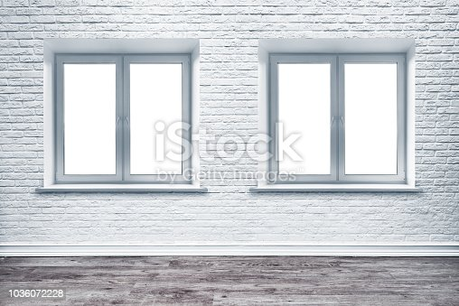 1062261710istockphoto White brick wall and plank wood floor. 1036072228