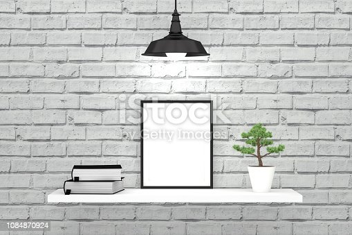 istock White brick wall and shelf with empty frame and old books 1084870924