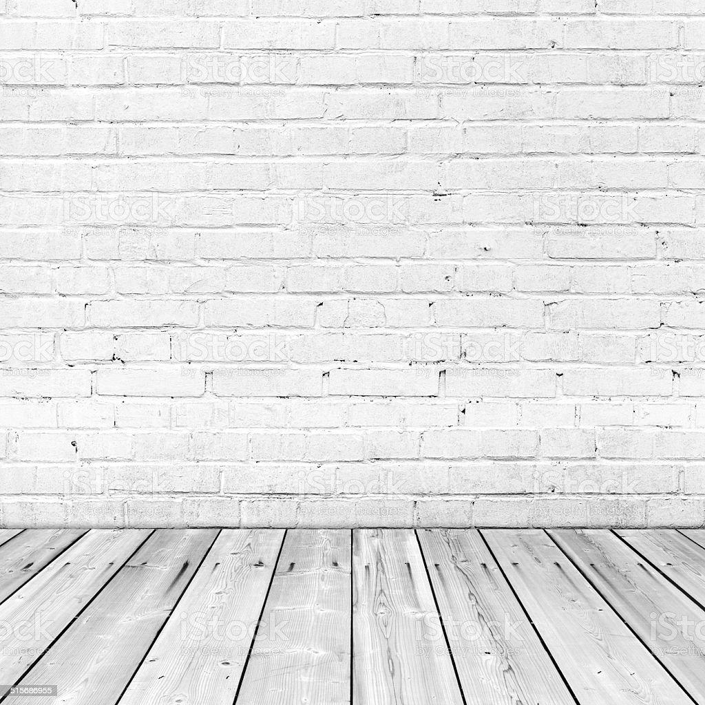 Pared de ladrillo blanco y piso de madera fondo abstracto - Pared ladrillo blanco ...