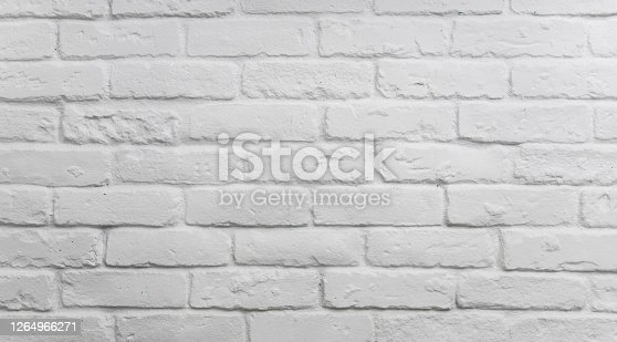 Realistic light white brick wall background.